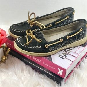 Tweed Sperry Top Sider Angelfish Boat Shoes - SZ 8